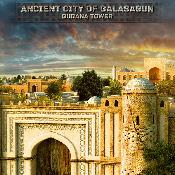 City of Balasagun and Burana tower - artist's reconstruction.