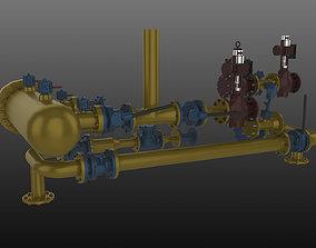 Gas station 3D model parts
