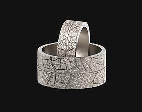 Wedding rings leaf texture 3D print model leaves