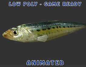 3D asset Low poly Sardine Fish Animated - Game