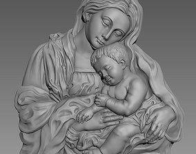 Virgin Mary and Baby Jesus 3D Highly Detailed Bas Relief
