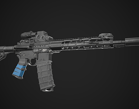 3D asset AR-15 Rifle Game Ready