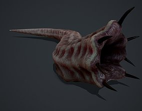 3D asset Creepy Flesh worm Animated PBR
