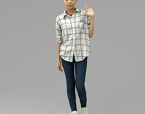 3D model A Cool Young Woman Saying Hi