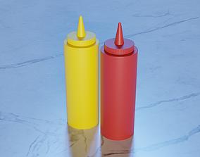 Mustard and Ketchup Bottles 3D asset