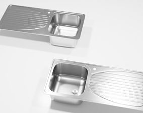 3D model Single bowl kitchen sink