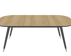 3D model realtime wooden dining table kitchen