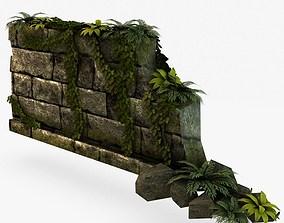3D model Jungle broken rock wall