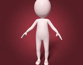 Cartoon White Man - Fat Stickman 3D asset