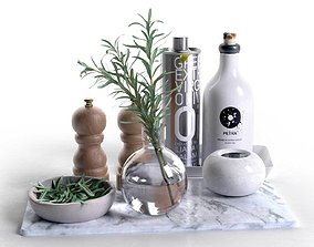3D Trays with Bowls Rosemary Olive Oil Salt and Pepper