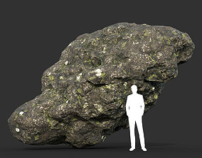 3D model Low poly Damaged Lichen Rock 12 190907