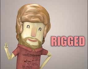 Hipster Men Character Rigged - Cartoon Humanoid 3D asset