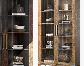 CAYDEN CAMPAIGN GLASS DOUBLE-DOOR CABINET 3D