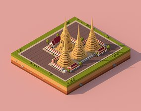 3D asset Cartoon Lowpoly Wat Pho Buddhist Temple