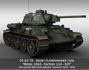 3D model OT-34-76 - Soviet Flamethrower Tank - 107