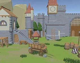 Cartoon Low Poly Village 3D model