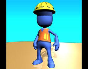 Construction worker pleb 3D asset