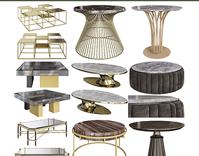 Coffee Table low poly 3d models collection VR / AR ready 1