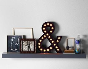 Composition of Ampersand Marquee Light Frames and Books 3D