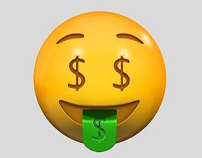 3D model Emoji Money-Mouth Face emoji
