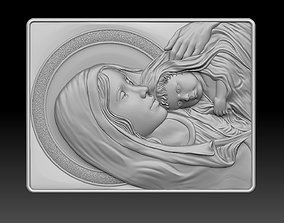 3D printable model madonna and jesus relief cnc