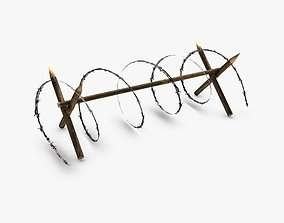 3D model checkpoint Low poly barbed wire barricade