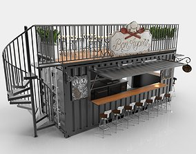 Container Cafe With Spiral Stair 3D
