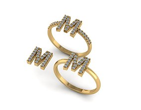 Alphabet letter ring M 3D print model