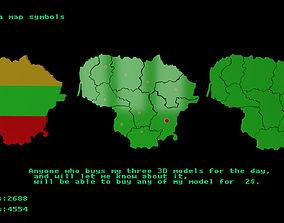 3D asset Lithuania map symbols