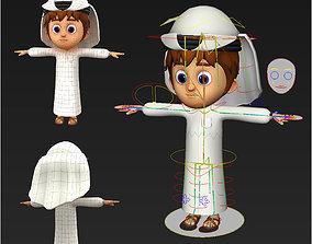 rigged 3D Arabic Muslim boy cartoon character Maya rigged