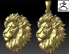 3D print model LION head pendant high