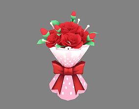 Cartoon Valentine Day roses 3D model