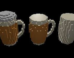 Beer mugs voxel 3D model