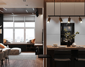 Modern Apartment Interior Scene and 3D model 1