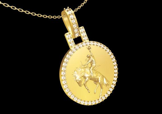 Cowboy Sculpture pendant jewelry gold necklace medallion 3D print model
