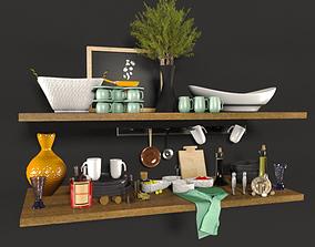 Kitchen set shelf 3D model