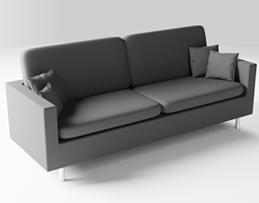 3D Realistic Grey Sofa Couch with Pillows