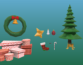 low-poly Christmas Stuff Pack Game Assets