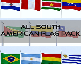 All South American Flag Pack 3D asset