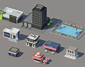 3D asset Low Poly City Pack isometric