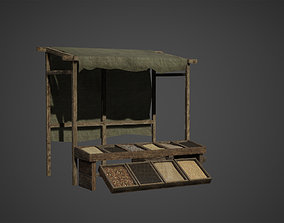 Medieval Old Wood Bazaar Shop Low Poly Game Ready 3D asset