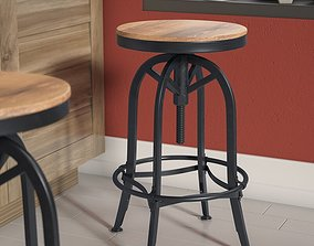 3D Jorgen Adjustable Height Swivel Bar Stool