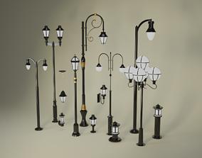 low-poly Street Lighting Set 3D model