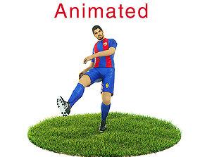 Luis Suarez Game Ready Football Player Kick 3D asset