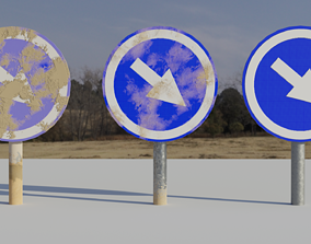 Keep Right - Round Road Signal 3D