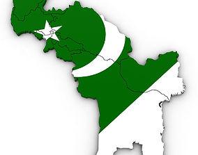 3d Political Map of Pakistan