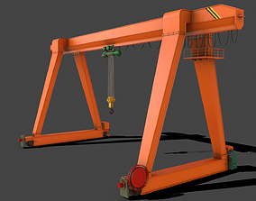 3D asset PBR Single Girder Gantry Crane V1 - ORANGE