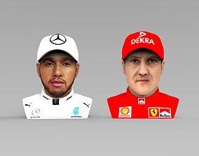 Michael Schumacher Lewis Hamilton busts full color 3D 1