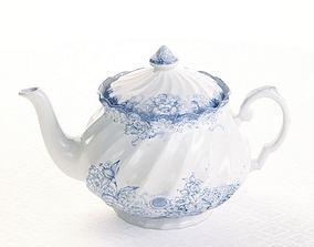 3D White Blue Porcelain Teapot