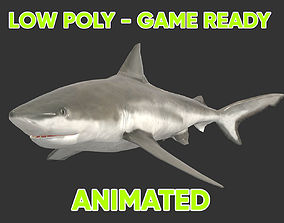 3D model Low poly Bull Shark Fish Animated - Game Ready